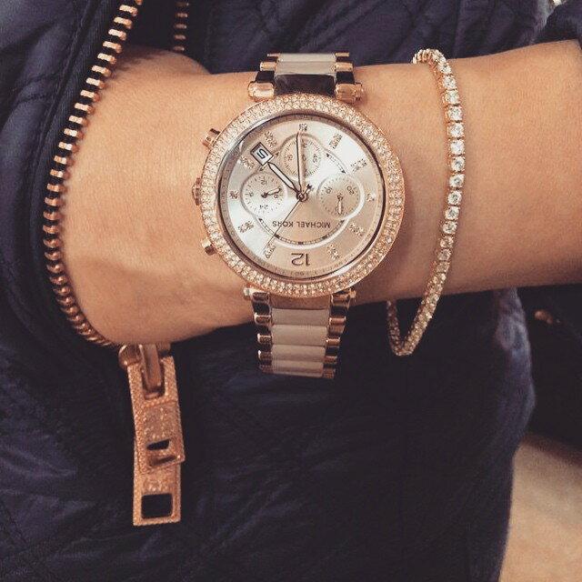 【限時8折 全店滿5000再9折】MichaelKors MK 粉玫瑰金 水鑽  陶瓷  三環 手錶 腕錶 MK5896 美國Outlet正品代購 8
