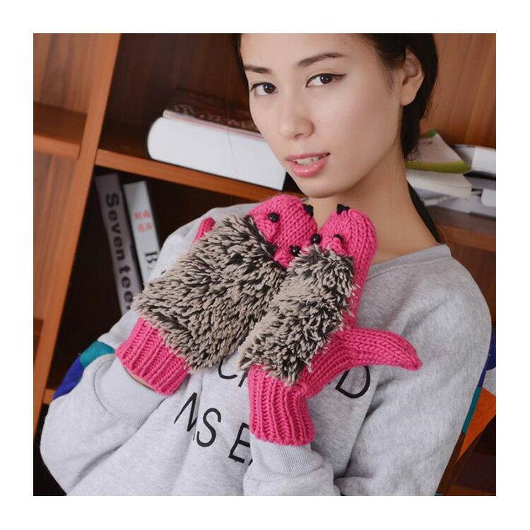 針織手套 萌可愛刺蝟造型針織連指手套【PUH855】 BOBI  11/17 2