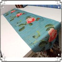 鄉村風zakka雜貨到棉麻桌旗《33X180-29》粉嫩玫瑰桌旗巾 桌布 桌巾 桌墊 三角桌巾 英倫風◤彩虹森林◥