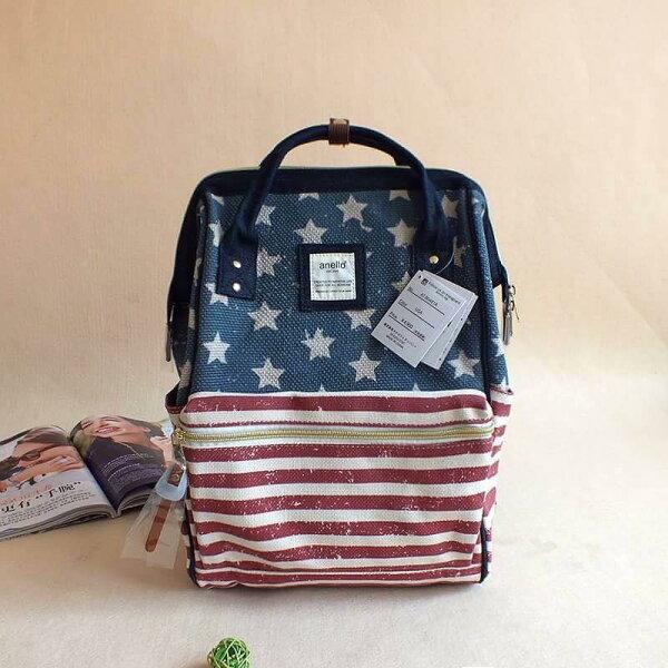【日本anello】新款-五角星美國國旗亞麻細紋帆布雙肩包 《大號》