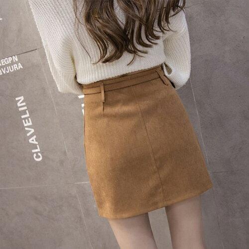 裙子 - 前口袋設計絨皮A字裙(附腰帶)【23308】藍色巴黎《2色:M~L》現貨+預購 2
