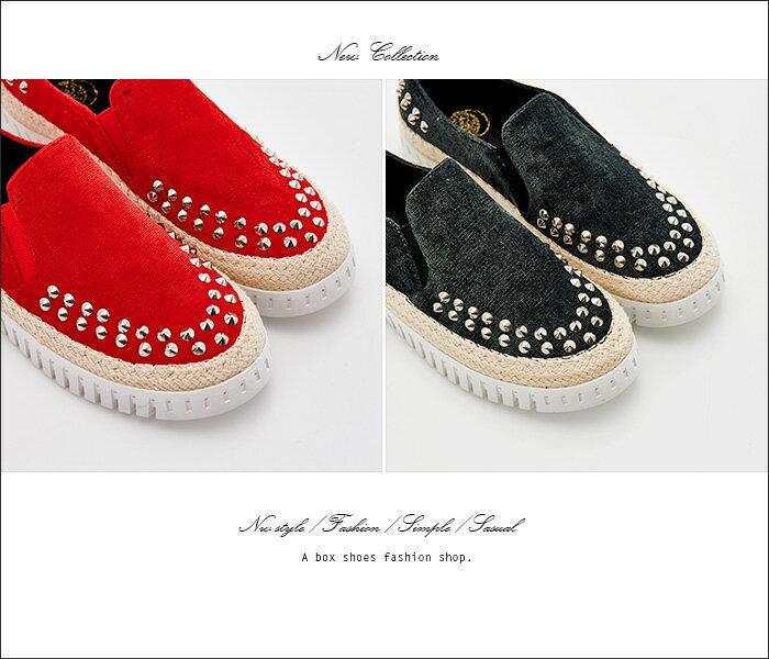 格子舖*【KF3188-6】韓國製造 個性時尚金屬鉚釘 質感布面拼接繩索編織 鬆緊穿拖懶人鞋 3色 2