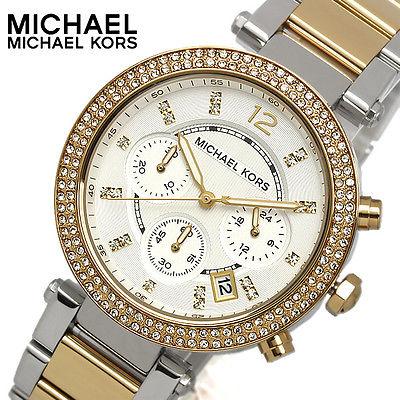 美國Outlet正品代購 MichaelKors MK  金銀色陶瓷 水鑽 三環 手錶 腕錶 MK5626 0
