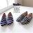 格子舖*【AW509】MIT台灣製 熱賣超值基本海軍條紋  V口鬆緊穿脫樂福鞋 懶人鞋 帆布鞋 3色 1