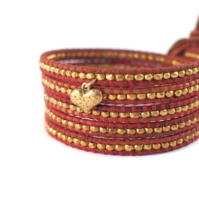 【現貨商品】【CHAN LUU】愛心鍍金銀塊珠暗紅色皮繩手環/5圈(CL-BG-2737GV-Esani  06158800BJ) 2