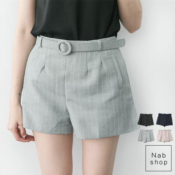NabShop 附腰帶直紋短褲^~4色 ~410053~