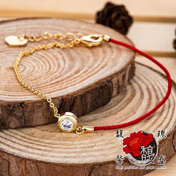 電鍍~真愛水鑽紅線手鍊~桃花 財運 編織 紅線 手環 開運 含開光 馥瑰馨盛NS0269
