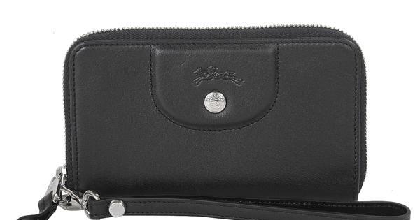 【LONGCHAMP】 Le Pliage Cuir系列小羊皮手拿/零錢包(黑) 0