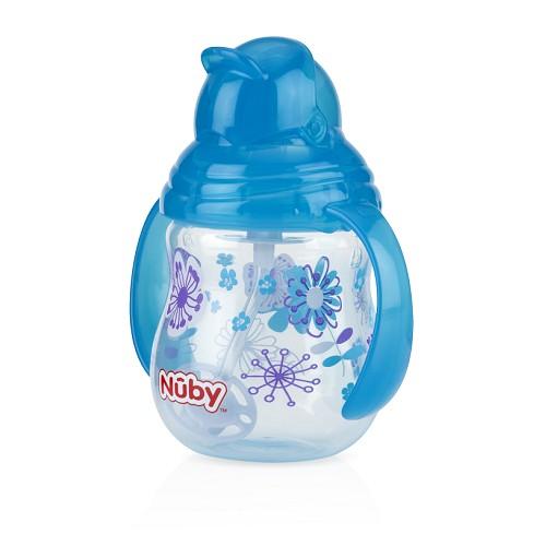Nuby - 卡拉雙耳彈跳吸管杯(360度吸管) 270ml 藍色幾何款 卡拉杯系列任二件加贈Nuby - 多功能水杯帶! 0