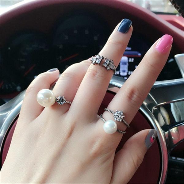 PS Mall   百搭指環 開口雙層珍珠戒指鑲鑽 日韓潮人食指戒指~G2002~ ~