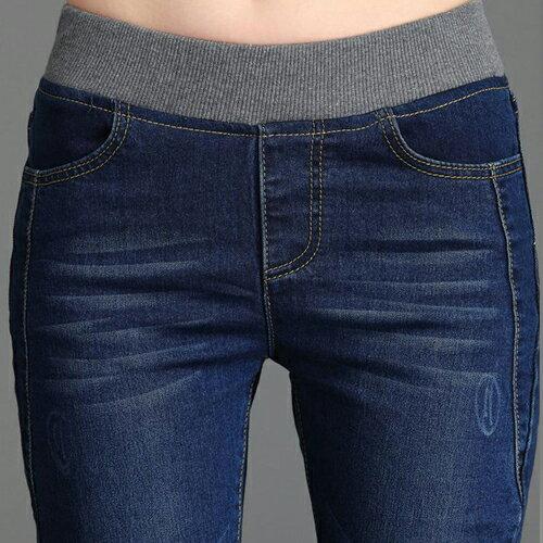褲子 - 鬆緊腰修身刷白效果牛仔窄管褲【23311】藍色巴黎《S~L》現貨+預購 2