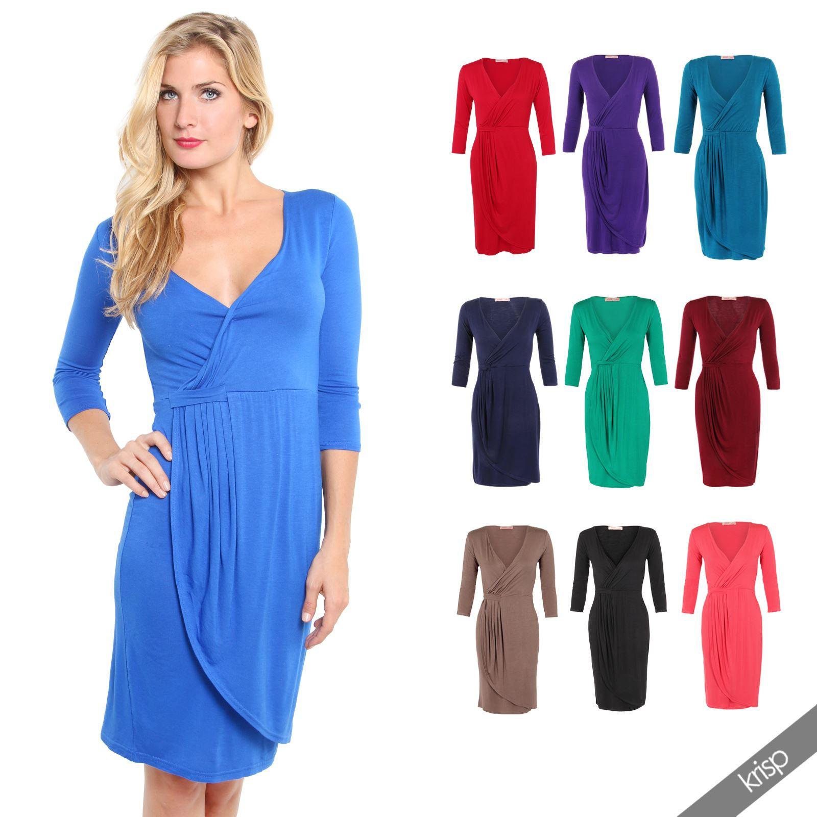 Women Shift Wrap Dress Knee Long Quarter 3/4 Sleeve Midi