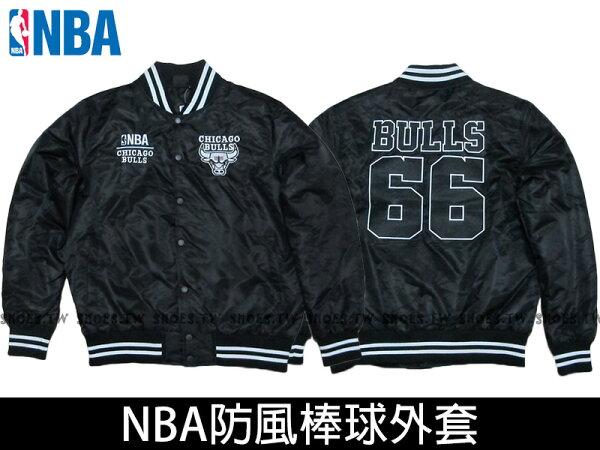 Shoestw【8560718-010】NBA 棒球外套 排釦 防風 芝加哥 公牛 光滑面 合身款 黑色66 爆裂手袖