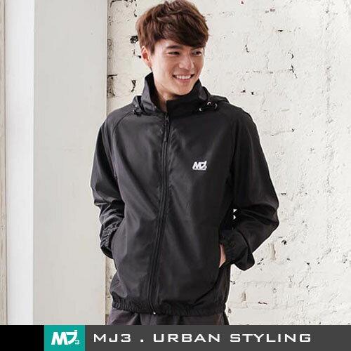 【MJ3】防風輕量風衣外套-男(神秘黑) 防曬 防潑水 排汗透氣 連帽 慢跑 路跑 騎車