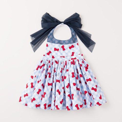 MARLMARL Hello Kitty 聯名款x gingham圍裙(80-90cm)(藍色格紋) - 限時優惠好康折扣