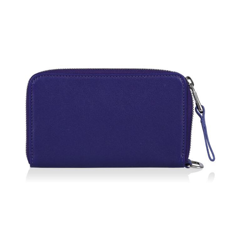 【LONGCHAMP】 Le Pliage Cuir系列小羊皮手拿/零錢包(深藍) 2