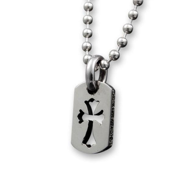 【海外訂購】【Chrome Hearts】迷你十字架鏤空純銀軍牌項鍊 Tiny cut out cross (CHDT-030 0310950000) 0