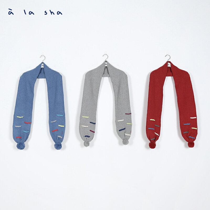 a la sha Qummi 彩色線條毛線球圍巾 3