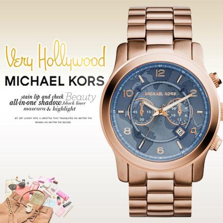美國Outlet正品代購 MichaelKors MK男女錶 藍耀世界地圖玫瑰金手錶腕錶 MK8358