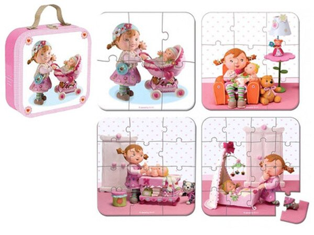 《★法國Janod》超精緻4合一拼圖禮盒 - 女版 Lilou玩洋娃娃 美國代購 溫媽媽