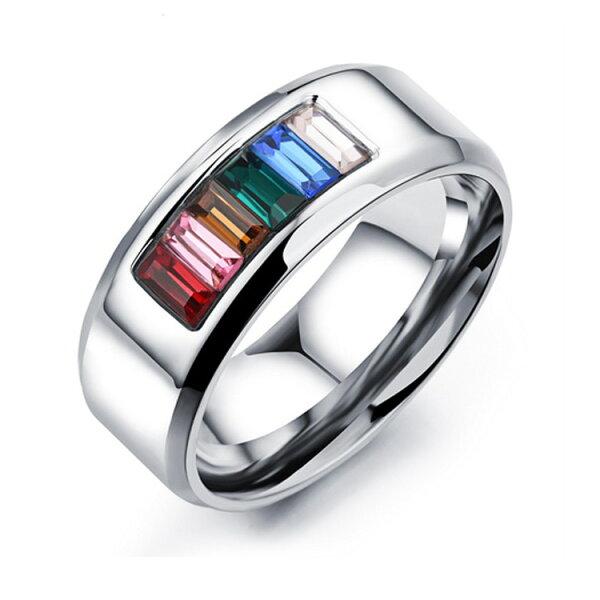 最新款時尚個性多彩皓石造型男款鈦鋼戒指