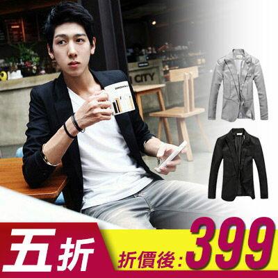 Free Shop【QTJBX910】韓版極致時尚型男風格簡約修身單釦款設計西裝外套‧二色