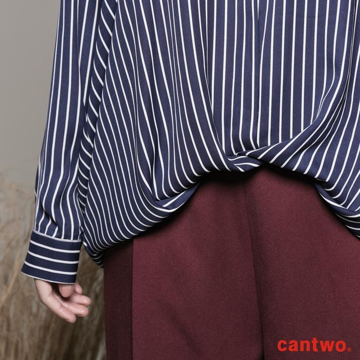 cantwo條紋小立領弧襬襯衫(共二色) 6