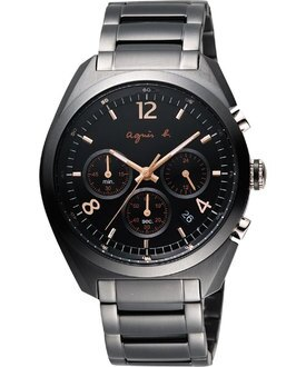 agnes b.法式浪漫黑計時碼錶BT3005X1(VD53-K280C)/黑面42mm