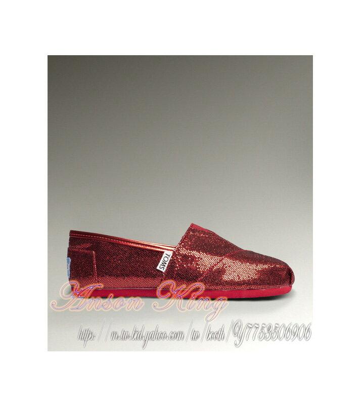 [女款] 國外代購TOMS 帆布鞋/懶人鞋/休閒鞋/至尊鞋 亮片系列  紅色 0