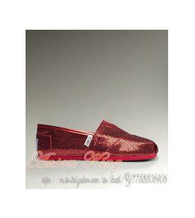 [女款] 國外代購TOMS 帆布鞋/懶人鞋/休閒鞋/至尊鞋 亮片系列  紅色