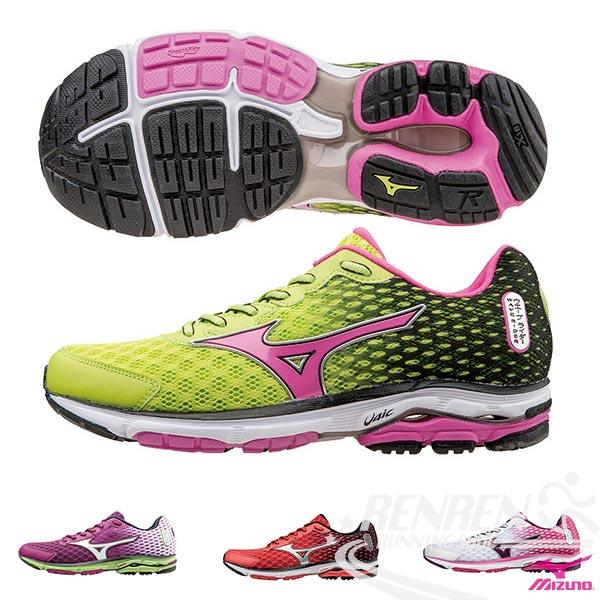 MIZUNO 美津濃  WAVE RIDER 18 女慢跑鞋 路跑(綠*黑*粉紅)2015年下半年新款