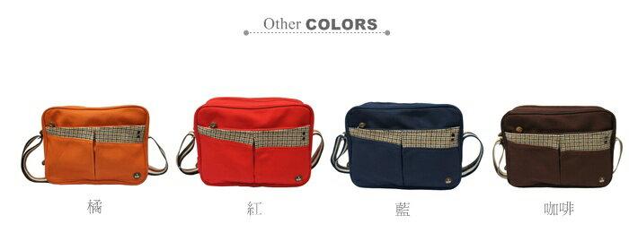 CORRE【CG71069】帆布毛革經典斜背包共四色 紅/藍/橘/咖啡 2