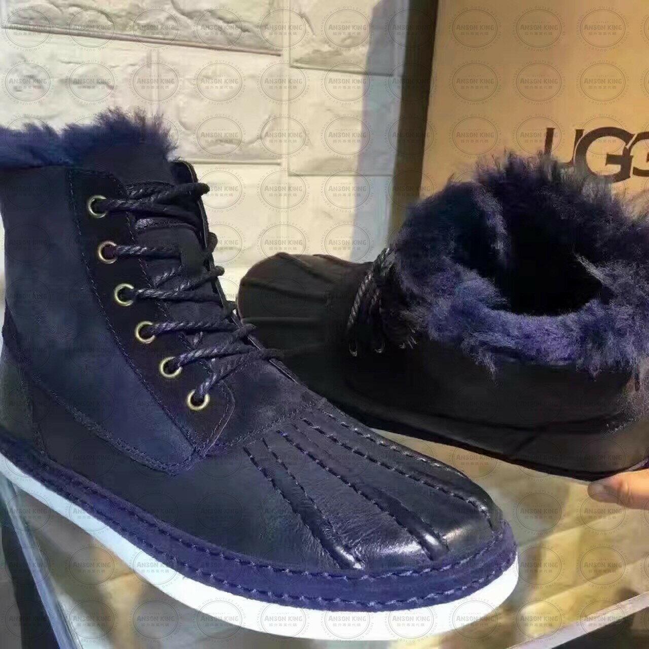 OUTLET正品代購 澳洲 UGG 冬季男款貝殼頭馬丁靴 短靴 保暖 真皮羊皮毛 雪靴 短靴 深藍 2