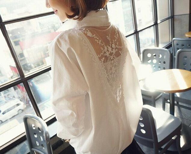 長袖襯衫 性感蕾絲拼接前後雙深V領襯衫 艾爾莎【TAE2420】 2