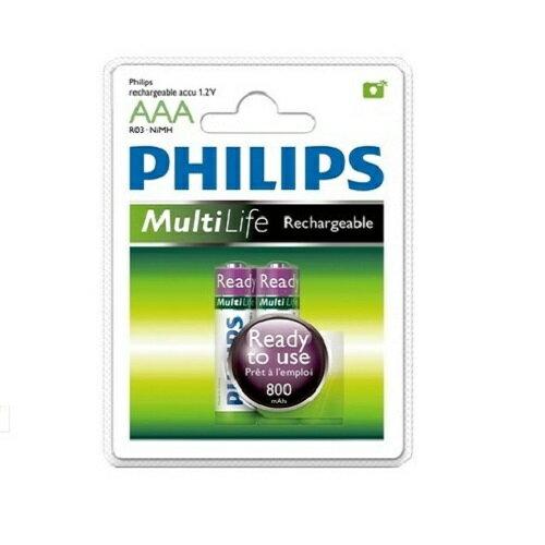 PHILIPS 飛利浦 鎳氫低自放充電電池4號2入【葳豐數位商城】