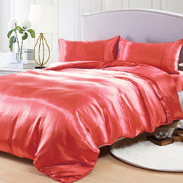 草莓紅 絲緞 加大四件式被套床包組 哇哇購 ~  好康折扣