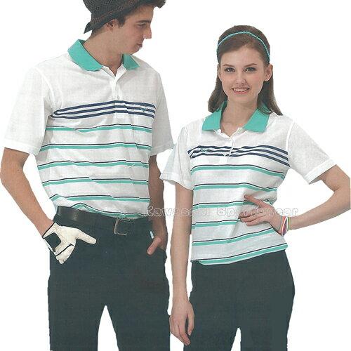 【日本名牌Kawasaki】男女電腦條紋運動休閒短POLO衫(白藍條紋)#K2226A-#KW2226A 0