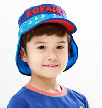 Kofairy可飛兒◆字母宇宙星球兒童護頸防曬遮陽棒球帽盆帽~紅色