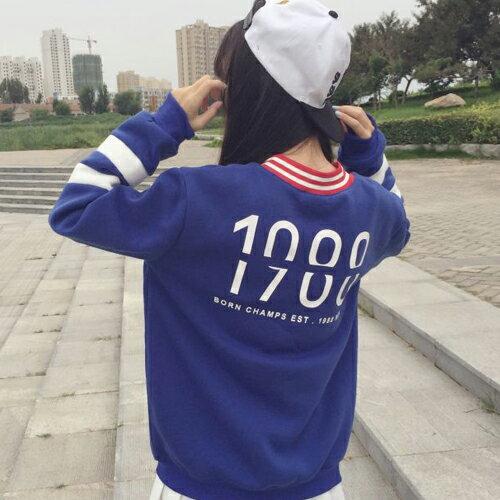 上衣 - V領條紋內刷毛運動風長袖T恤【29199】藍色巴黎 《2色》現貨 + 預購 2