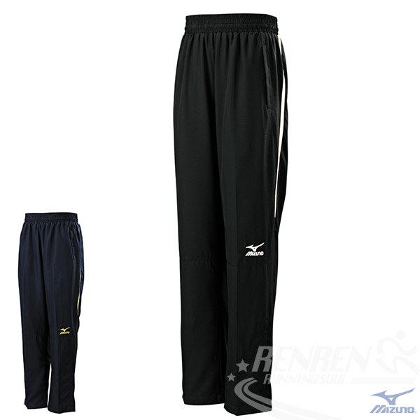 MIZUNO 美津濃 男平織休閒長褲 (黑*白)  平織運動套裝下