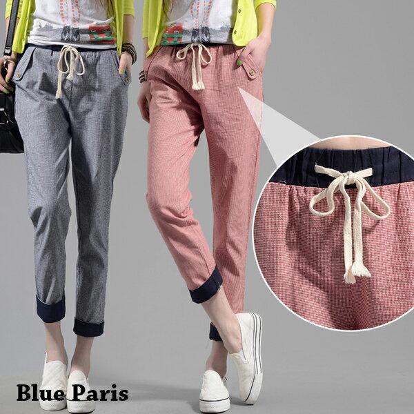 褲子 - 撞色設計鬆緊腰褲管反折格子休閒褲【23305】藍色巴黎《M、XL》現貨+預購 0