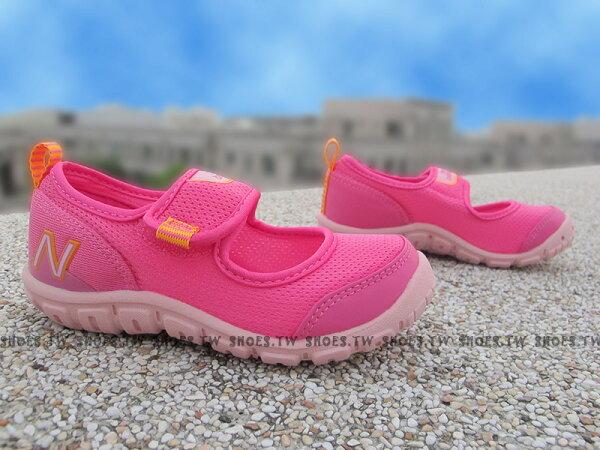 Shoestw【KA207MAI】NEW BALANCE 涼鞋 拖鞋 童鞋 小童鞋 黏帶 桃紅橘 免綁帶