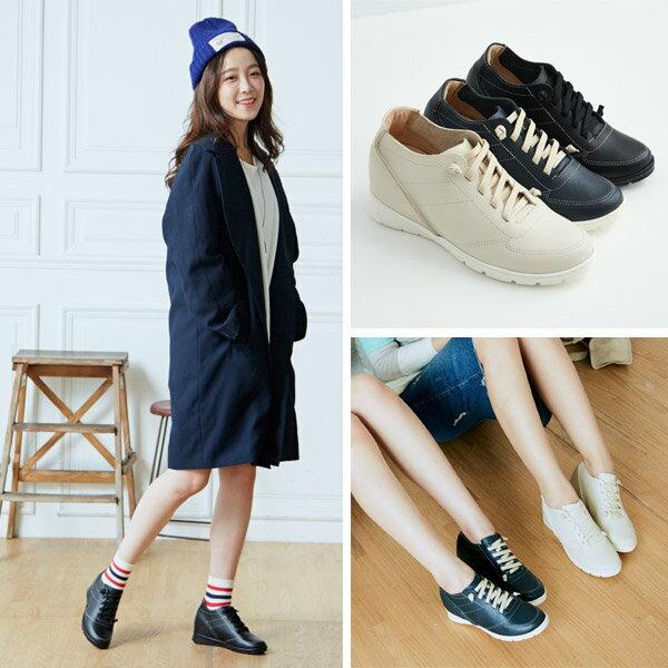 AppleNana蘋果奈奈【QT219911580】時尚部落客運動風潮隱形內增高真皮氣墊鞋 1
