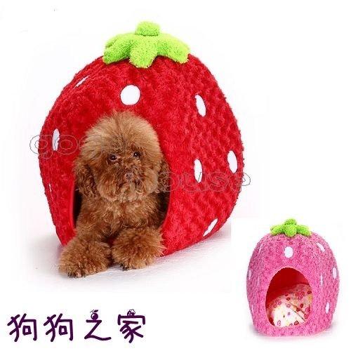 ☆狗狗之家☆草莓造型 立體玫瑰絨毛 寵物房 寵物窩 草莓屋