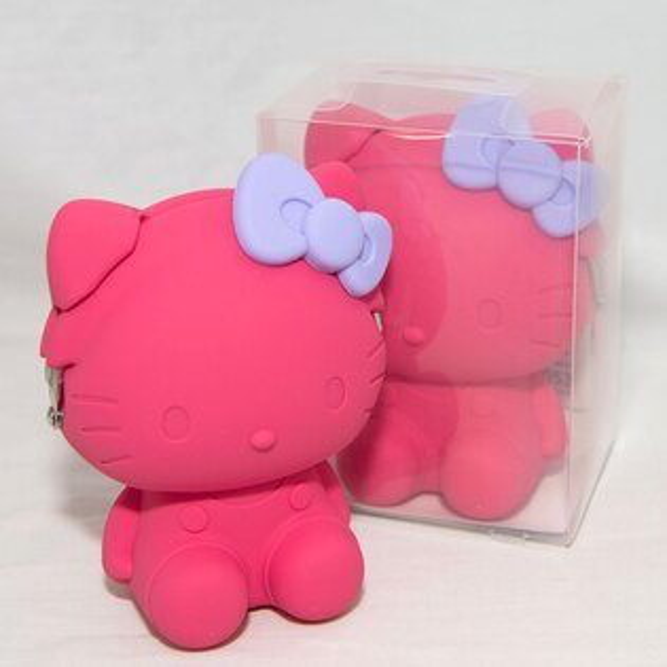 桃色 Hello Kitty 凱蒂貓造型 矽膠零錢包 mimi POCHI 日本正版