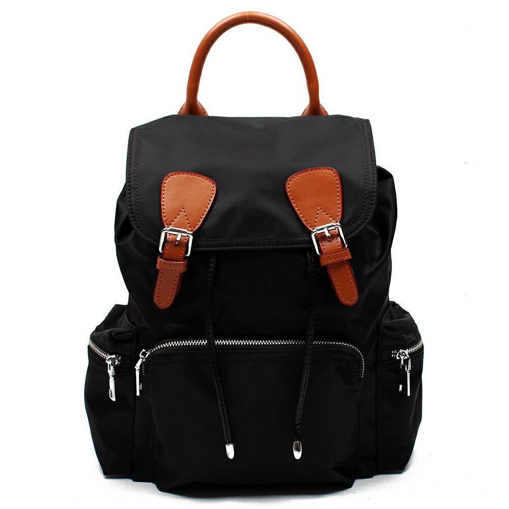 【BEIBAOBAO】倫敦學院防水布配真皮後背包(共兩色:時尚黑) 1