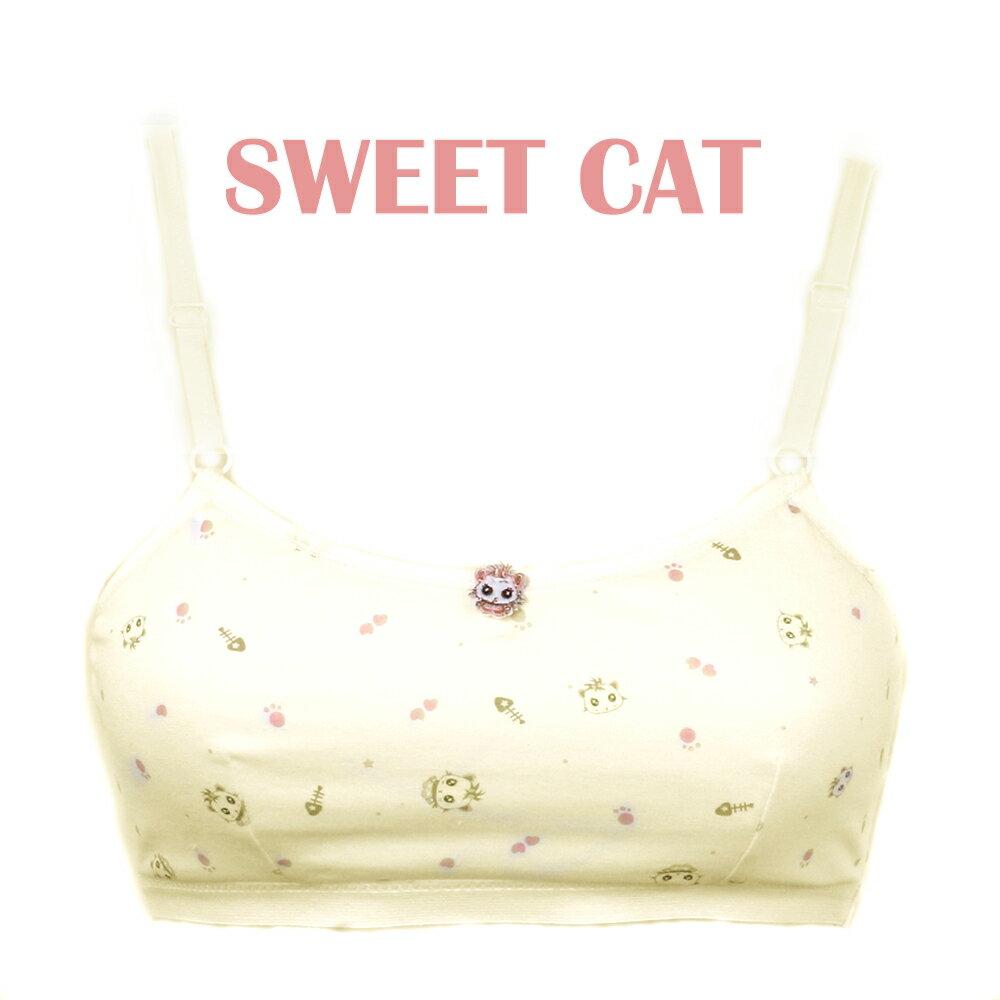【夢蒂兒】俏皮貓咪。俏初成長少女可調式胸衣(黃) 2
