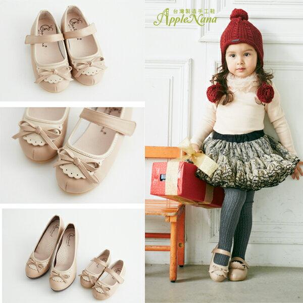 AppleNana。MIT手工童鞋。跟媽媽一樣小小圍兜蝴蝶結真皮娃娃鞋【QBC70691080】蘋果奈奈 1