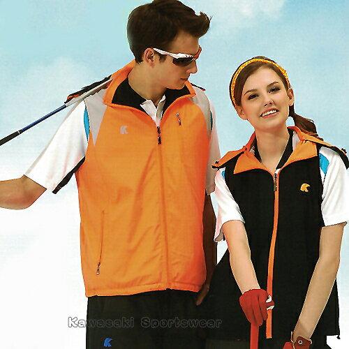 【日本KAWASAKI】男女運動休閒連帽雙面穿背心(橘黑#K238A1) - 限時優惠好康折扣