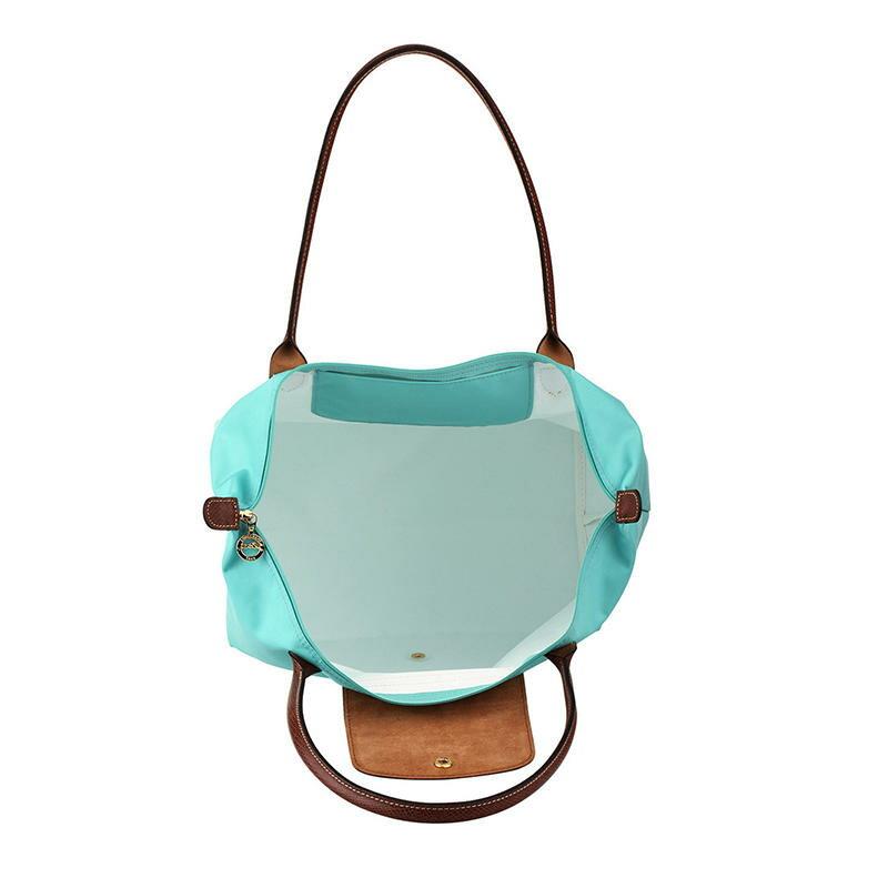 [長柄M號]國外Outlet代購正品 法國巴黎 Longchamp [1899-M號] 長柄 購物袋防水尼龍手提肩背水餃包 湖水綠 3